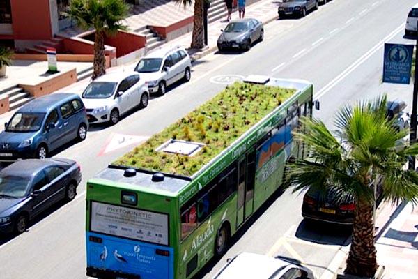 gyeptetős buszok Spanyolországban