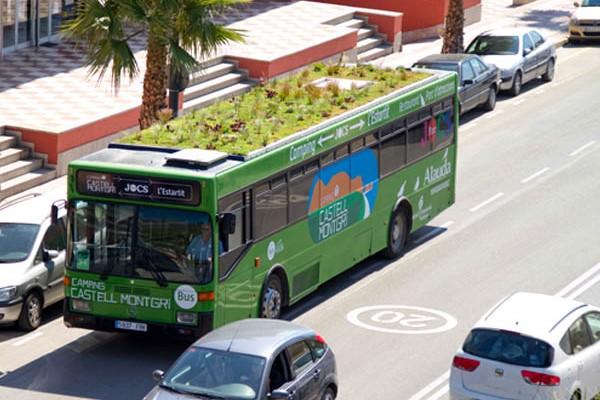 zöldtetős buszok