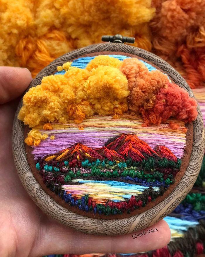 """Hímzett """"festményeket"""" készít egy képzőművész lány – Van Gogh stílusban"""