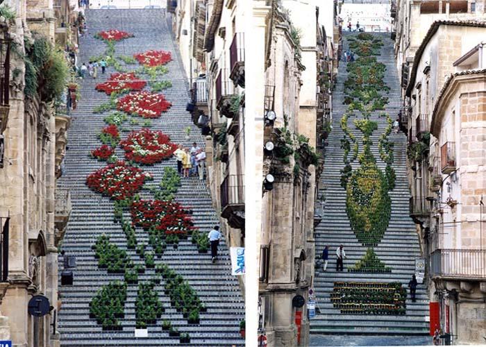 Szicília hatalmas virágokkal díszített lépcsője